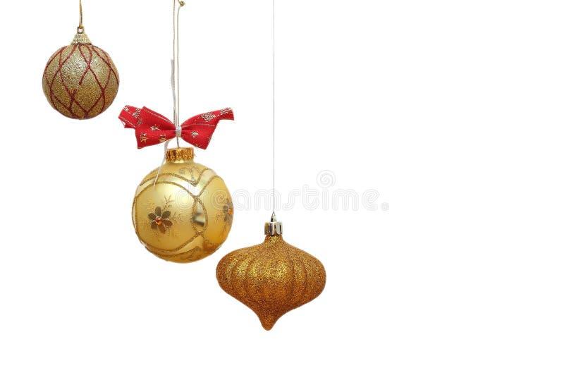 Babioles d'or de Noël images stock