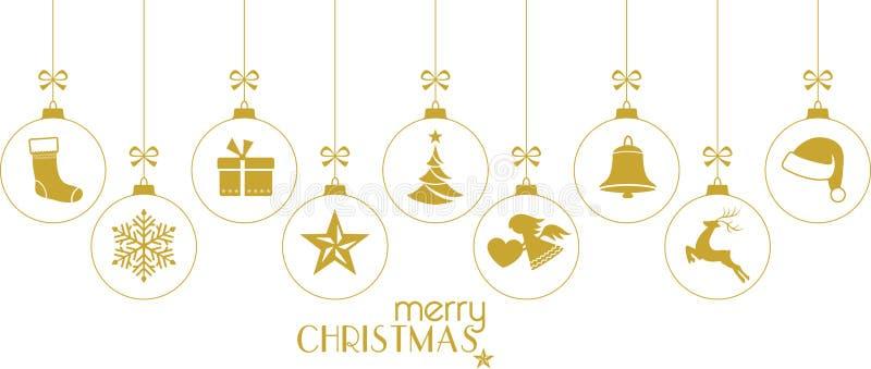 Babioles d'or de Noël, ornements de Noël sur le blanc illustration stock