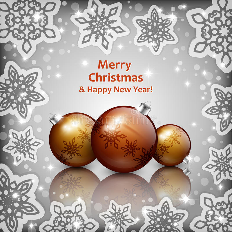 Babioles d'or de Noël sur un fond gris images libres de droits