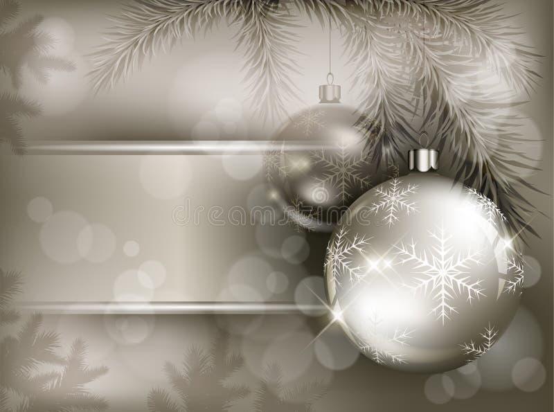 Babioles de Noël avec le flocon de neige sur le branchement illustration libre de droits