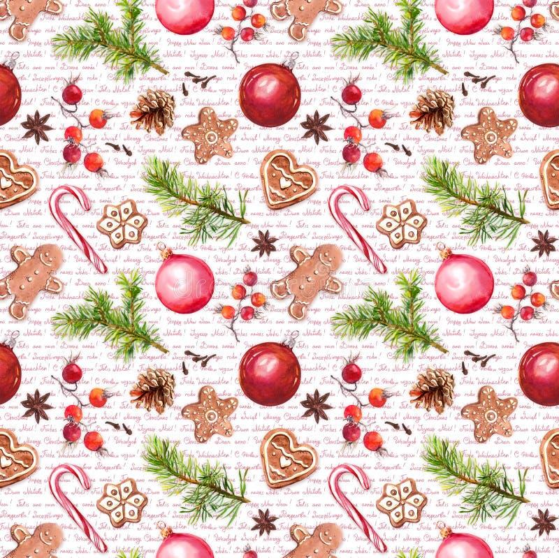 Babioles de Noël, biscuits de pain de gingembre, branches d'arbre de Noël, baies rouges Modèle sans couture avec des félicitation illustration stock