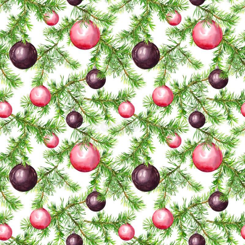 Babioles de Noël, brindilles d'arbre de sapin Configuration sans joint pour la conception de Noël watercolor illustration de vecteur