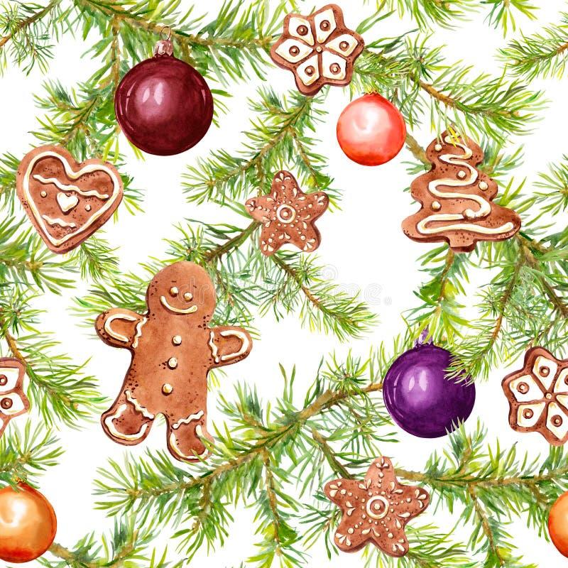 Babioles de Noël, pain d'épice, branches d'arbre de conifère Configuration sans joint pour la conception de Noël watercolor illustration libre de droits