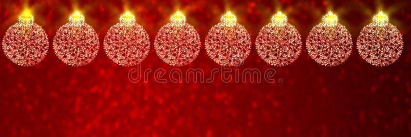 Babioles de Noël sur le fond defocused rouge illustration stock