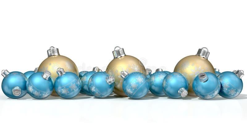 Babioles fleuries de Matte Gold And Blue Christmas illustration libre de droits