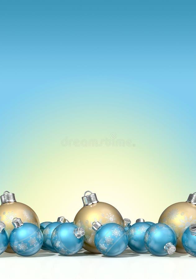 Babioles fleuries de Matte Gold And Blue Christmas illustration de vecteur