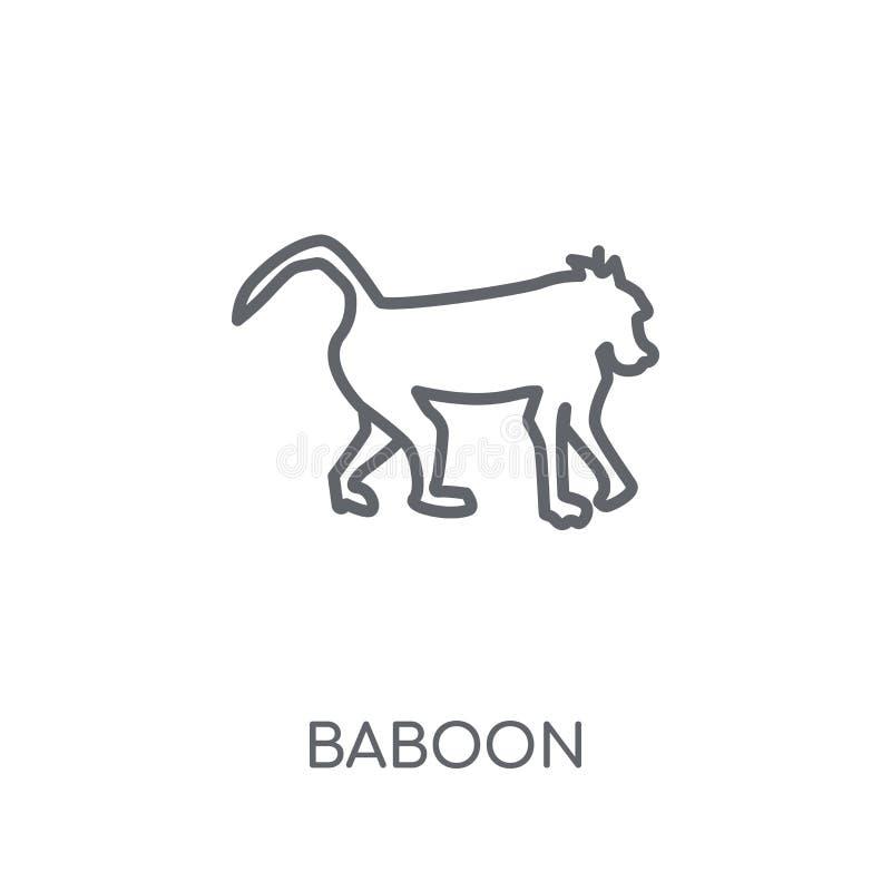 Baboon γραμμικό εικονίδιο Σύγχρονη Baboon περιλήψεων έννοια λογότυπων στο λευκό διανυσματική απεικόνιση