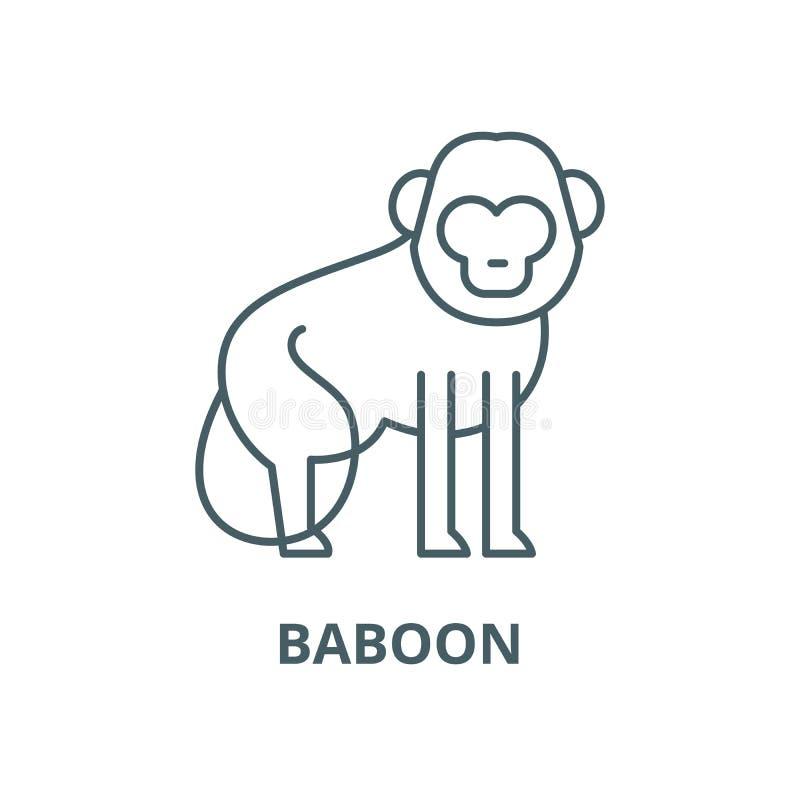 Baboon διανυσματικό εικονίδιο γραμμών, γραμμική έννοια, σημάδι περιλήψεων, σύμβολο διανυσματική απεικόνιση