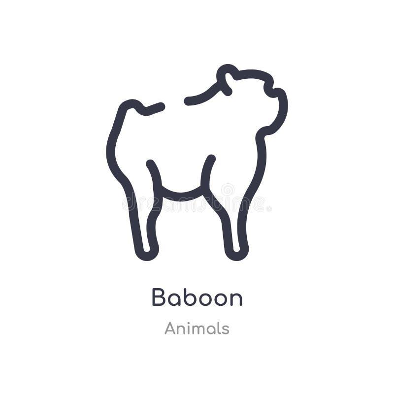 baboon εικονίδιο περιλήψεων απομονωμένη διανυσματική απεικόνιση γραμμών από τη συλλογή ζώων editable λεπτό baboon κτυπήματος εικο διανυσματική απεικόνιση
