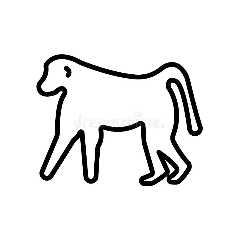 baboon εικονίδιο που απομονώνεται στο άσπρο υπόβαθρο ελεύθερη απεικόνιση δικαιώματος