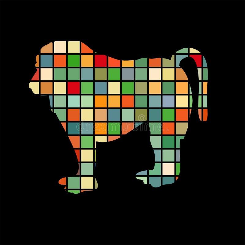 Baboon ζώο σκιαγραφιών χρώματος αρχιεπισκόπων πίθηκων ελεύθερη απεικόνιση δικαιώματος
