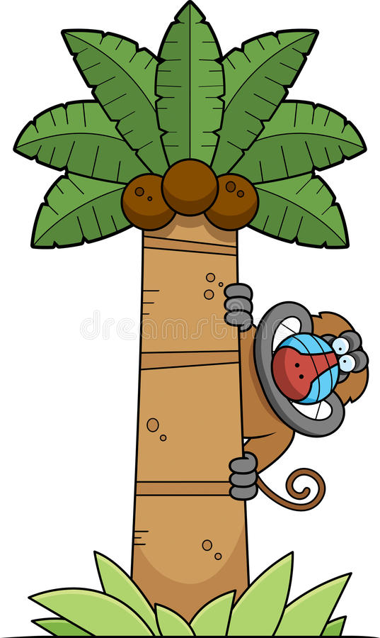 Baboon κινούμενων σχεδίων δέντρο ελεύθερη απεικόνιση δικαιώματος