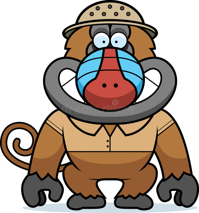 Baboon κινούμενων σχεδίων σαφάρι ελεύθερη απεικόνιση δικαιώματος