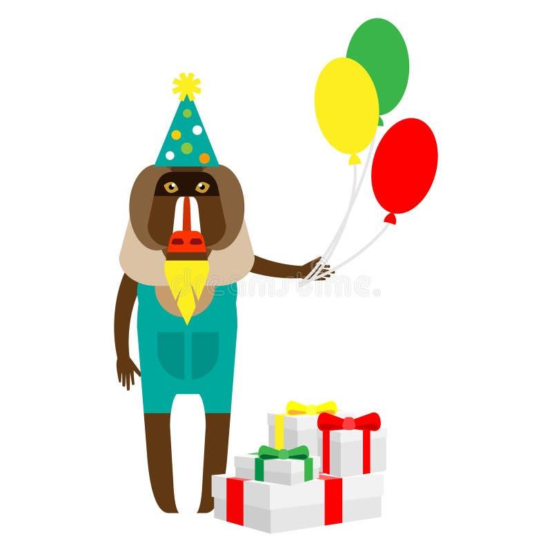 Baboon κλόουν με τα δώρα απεικόνιση αποθεμάτων