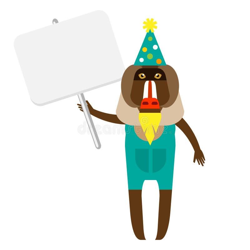 Baboon κλόουν με το έμβλημα ελεύθερη απεικόνιση δικαιώματος
