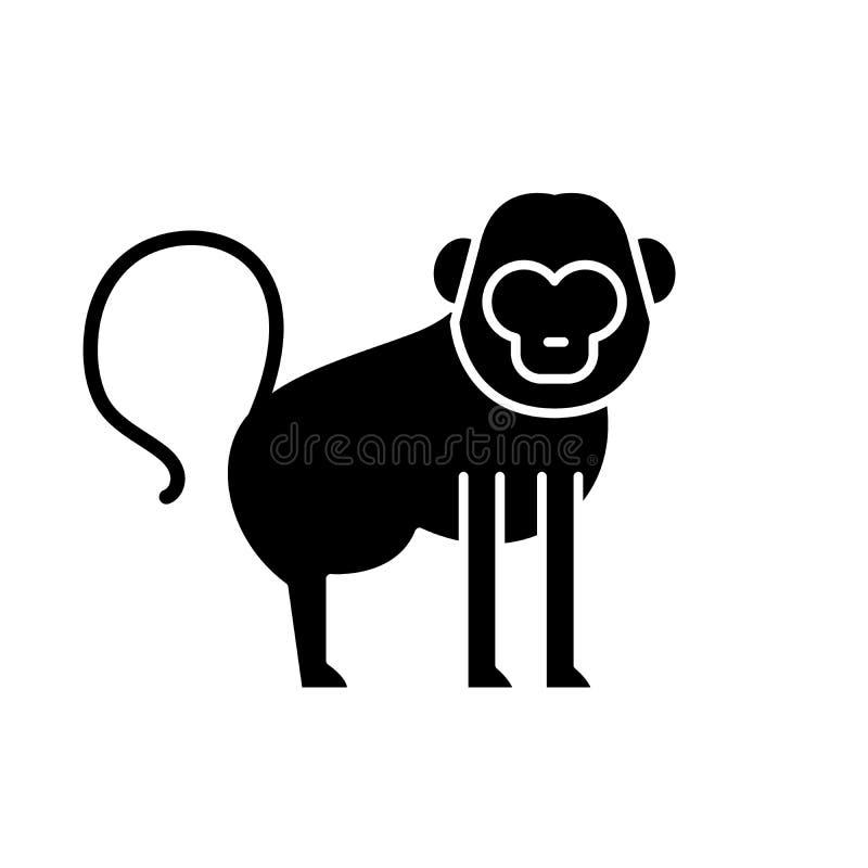 Baboon μαύρο εικονίδιο, διανυσματικό σημάδι στο απομονωμένο υπόβαθρο Baboon σύμβολο έννοιας, απεικόνιση διανυσματική απεικόνιση