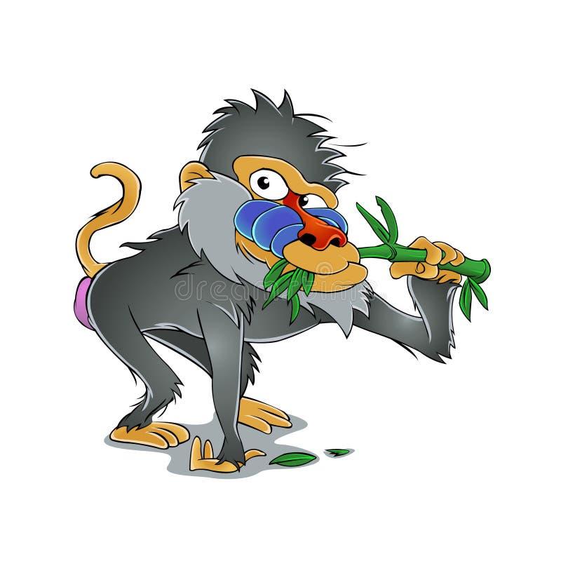 Baboon που τρώει το μπαμπού ελεύθερη απεικόνιση δικαιώματος