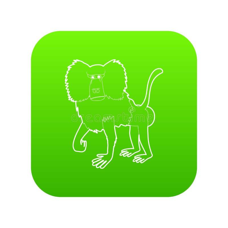Baboon πράσινο διάνυσμα εικονιδίων ελεύθερη απεικόνιση δικαιώματος