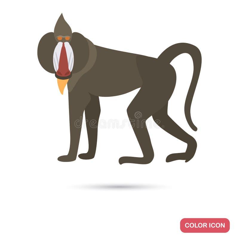 Baboon της Αφρικής επίπεδο εικονίδιο χρώματος διανυσματική απεικόνιση