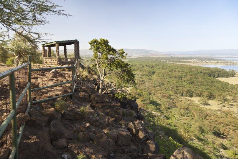 Baboon Cliff Lookout, Kenya. Lake in Nakuru National Park seen from Baboon Cliff Lookout in Kenya stock image