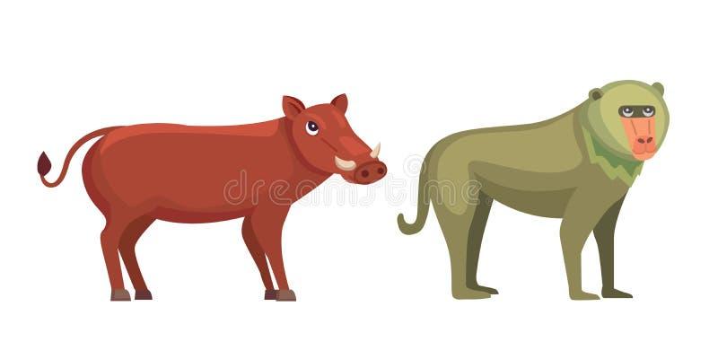 Baboon monkey and warthog savanna animals in cartoon style vector illustration