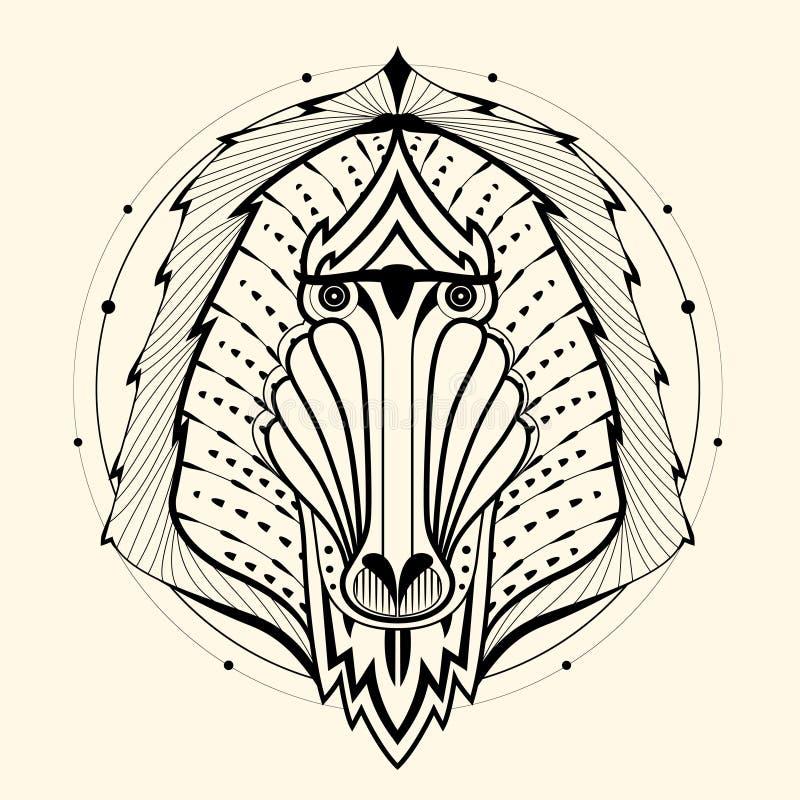 Baboon zentangle ελεύθερη απεικόνιση δικαιώματος