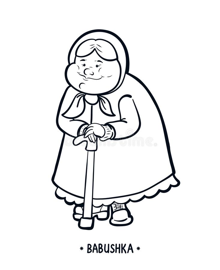 Babushka eller farmor, text Olderly en kvinna med en gå pinne Svartvit vektor isolerad illustration stock illustrationer