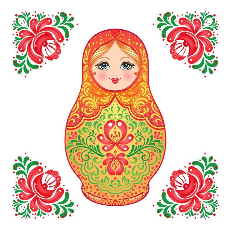 Babushka (matryoshka), bambola di legno russa tradizionale d di incastramento royalty illustrazione gratis
