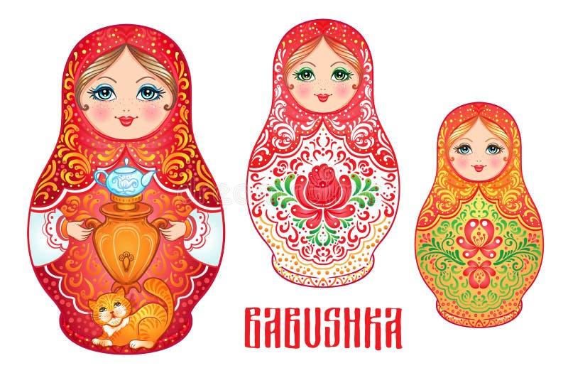 Babushka (matryoshka), muñeca de madera rusa tradicional d de la jerarquización stock de ilustración