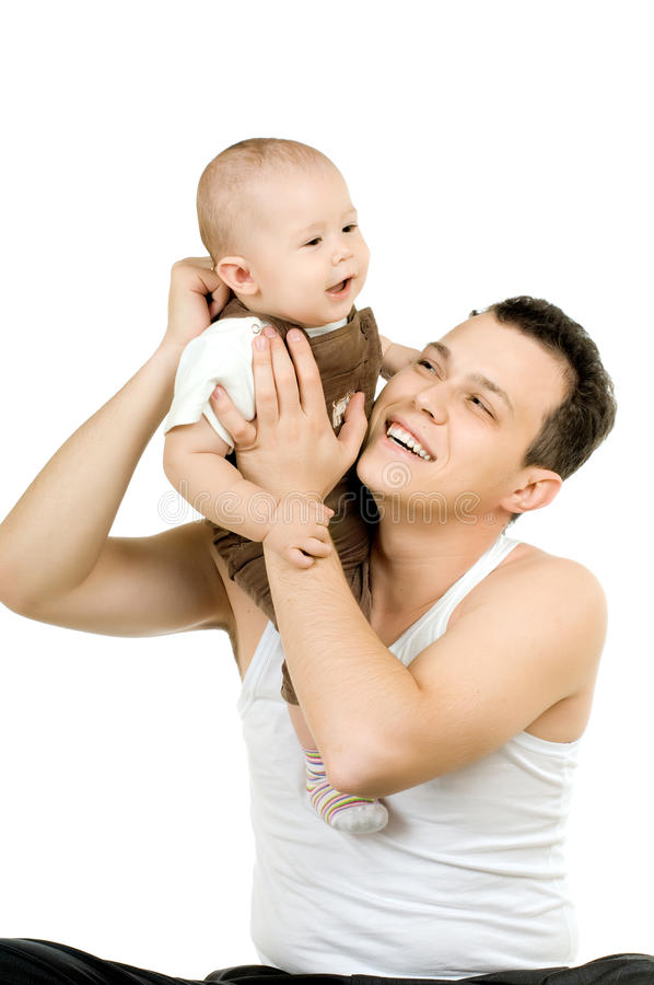 Baby. Dad high lift up little baby on hands, on white background, isolated stock images