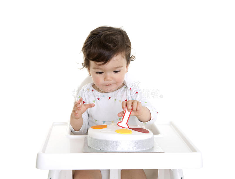 Download Baby 1st Birthday stock photo. Image of highchair, portrait - 25424948