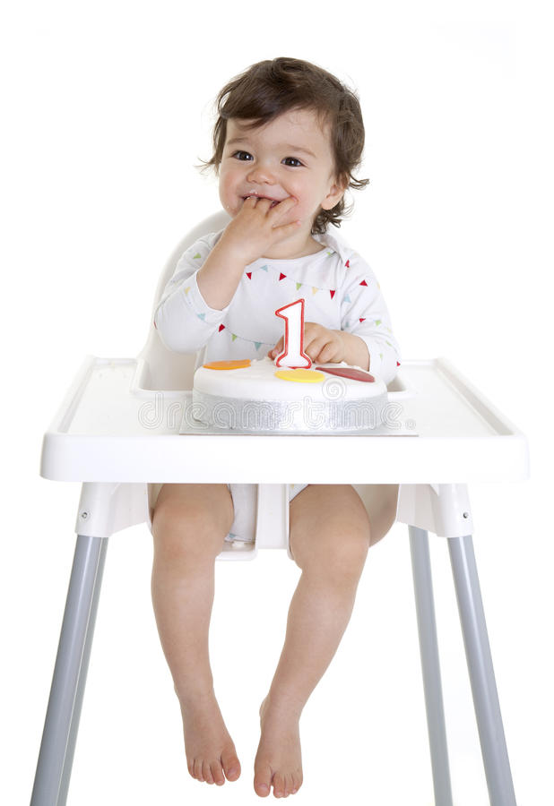 Download Baby 1st Birthday stock photo. Image of highchair, excited - 25424960