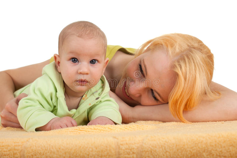 Baby 2 Month Boy With Mother Stock Photography