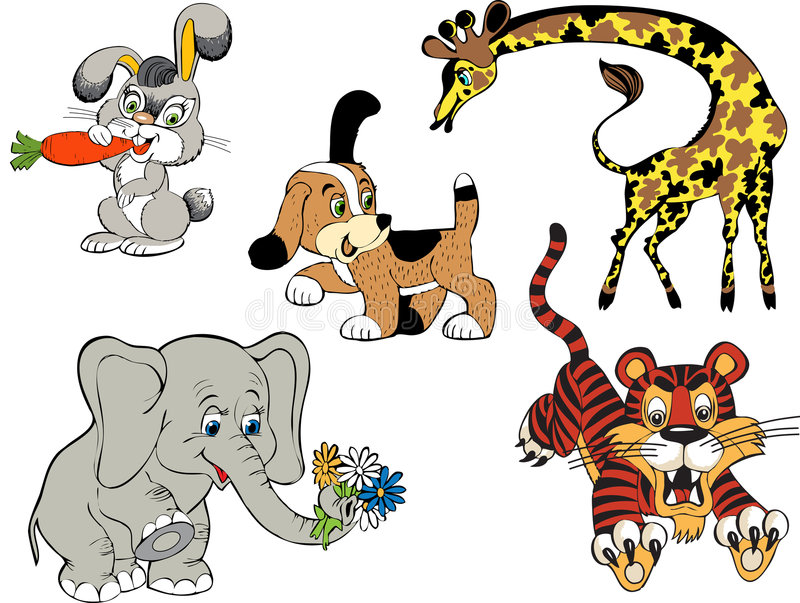 Baby. Icons series. Hare, giraffe, elephant, tiger. Animals