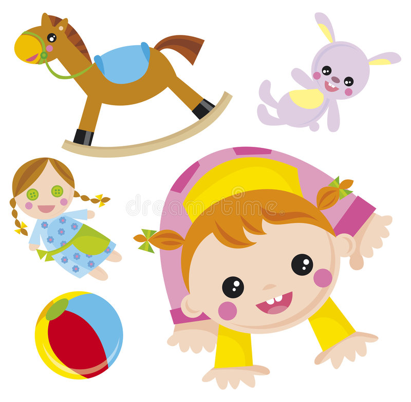 Baby. Illustration of baby girl with her toys