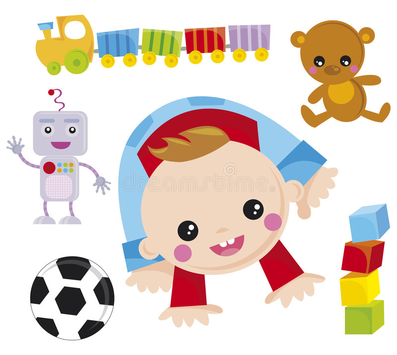 Baby. Illustration of baby boy with his toys