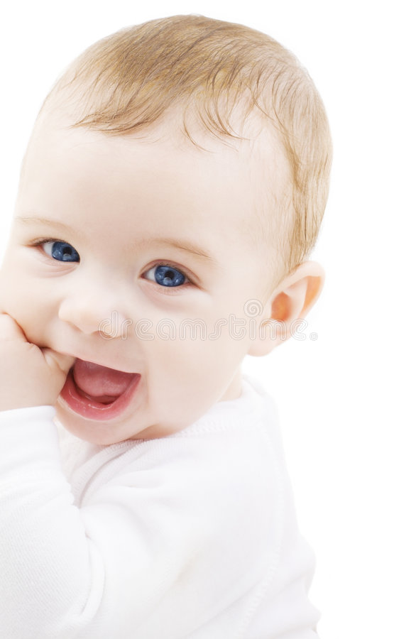 Baby. Bright picture of adorable baby boy over white stock images