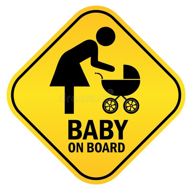 Baby aan boord stock illustratie