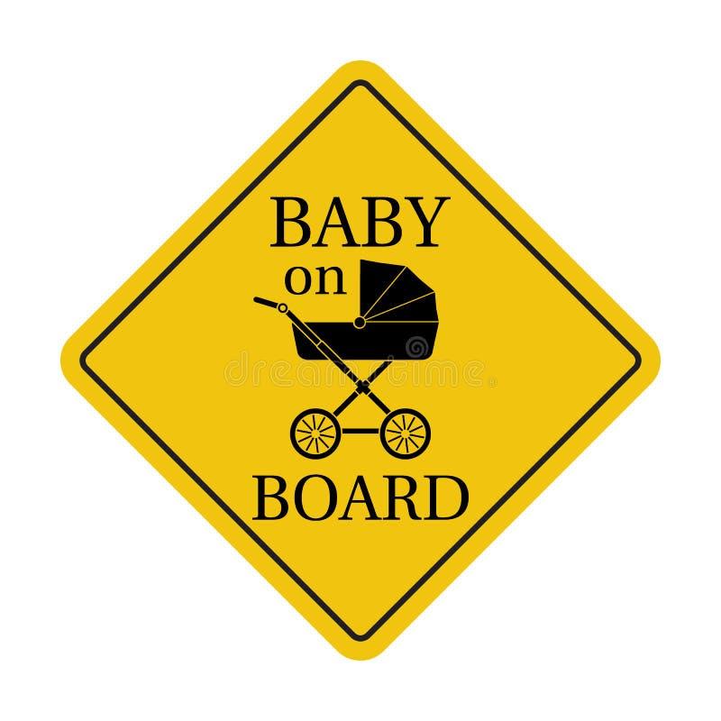 Baby aan boord, sticker vector illustratie