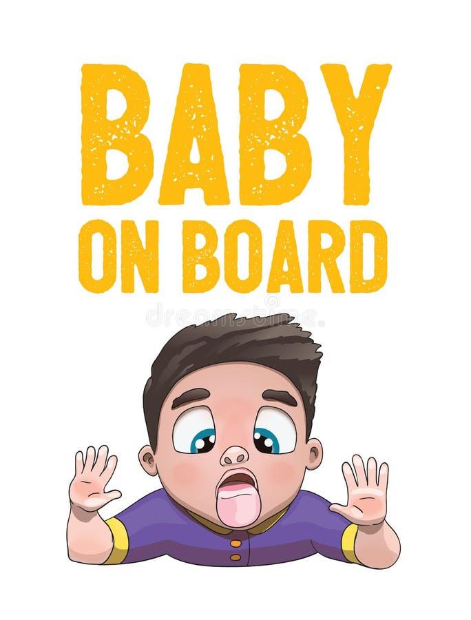 Baby aan boord van Teken met Kindjongen die Glasgezicht op een Witte Achtergrond likken Autosticker met waarschuwing stock illustratie