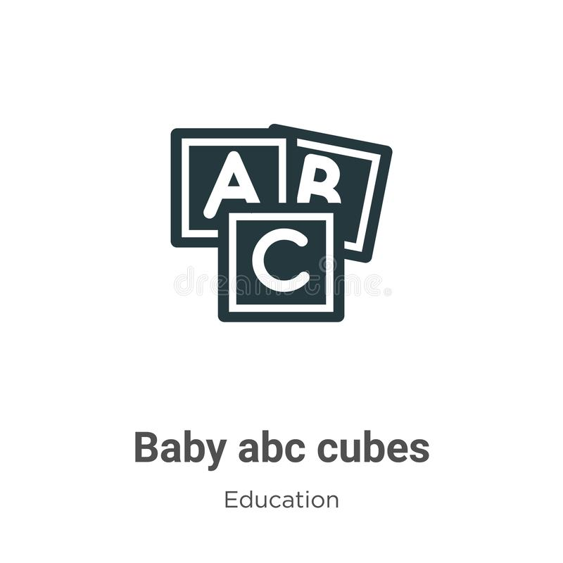 Baby abc cubes vector icon on white background. Flat vector baby abc cubes icon symbol sign from modern education collection for stock illustration