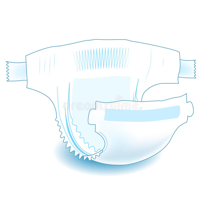 Baby absorbent diaper. Realistic vector illustration stock illustration