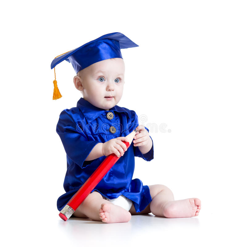 Baby in academicuskleren royalty-vrije stock fotografie