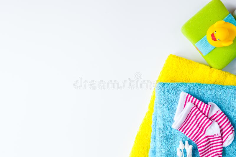 Baby accessories for bath on white background royalty free stock photo