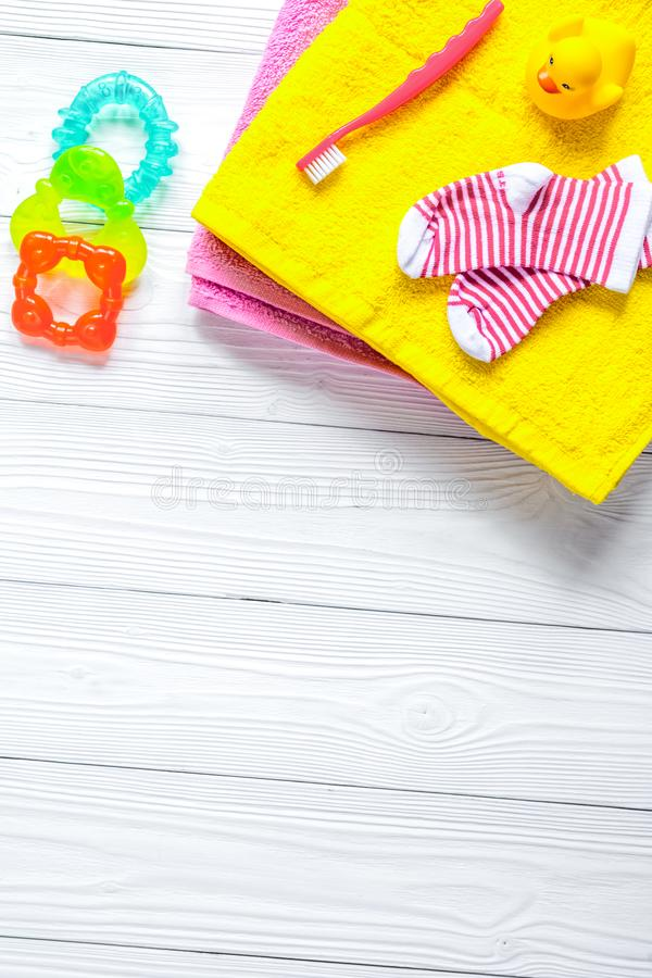Baby accessories for bath on wooden background royalty free stock photos