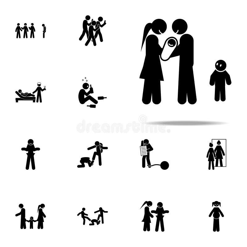 baby, afgunstpictogram Voor Web wordt geplaatst en mobiel de pictogrammenalgemeen begrip van de jeugd sociaal die kwesties vector illustratie