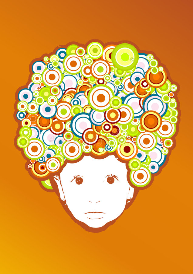 Download Baby with afro style. stock vector. Image of hair, background - 6369594