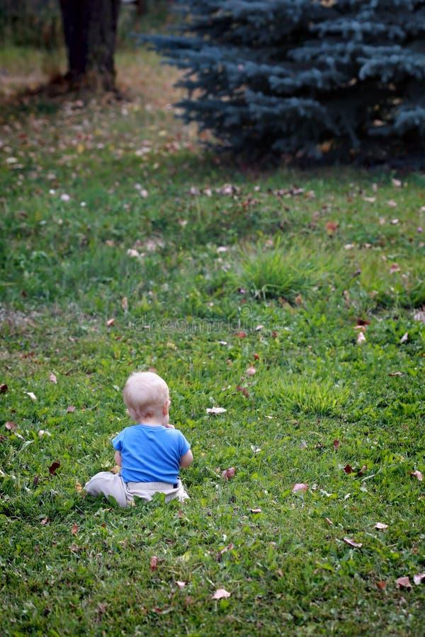Baby alleine auf Gras lizenzfreie stockbilder