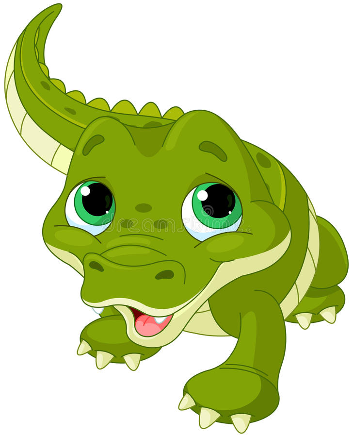 Baby alligator. Illustration of very cute baby alligator stock illustration