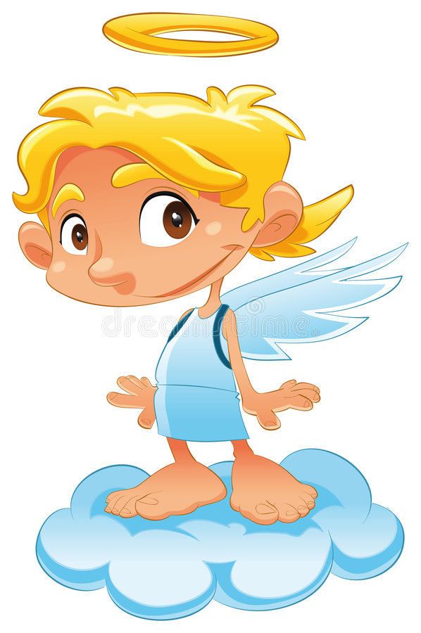 Baby angel. Funny vector and cartoon character